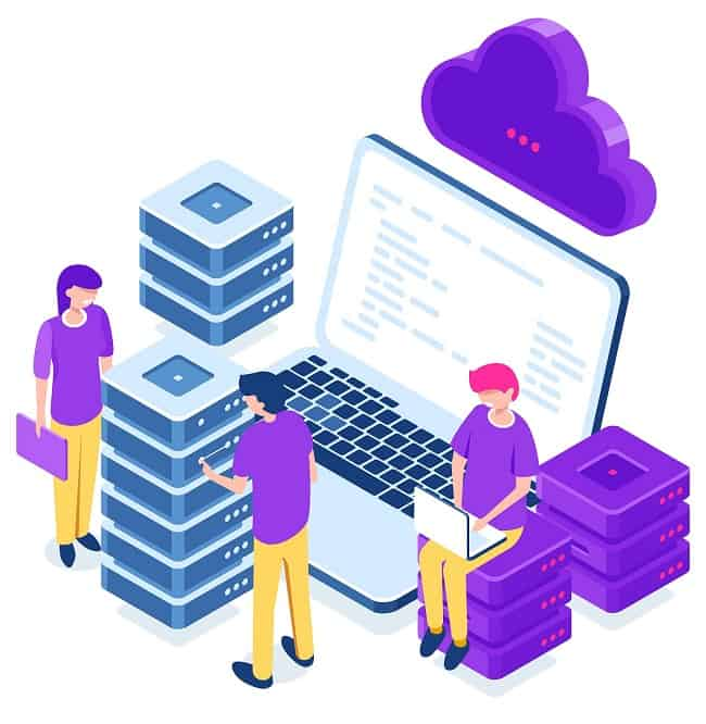 Cloud data storage, remote backup of files, data center and database isometric concept, internet warehouse, laptop cartoon people